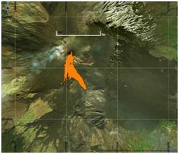 Figura 4 Immagine a falsi colori utilizzando le bande 4,5 e 7 di Landsat8 (18 Marzo 2017). Il flusso lavico è evidenziato in rosso