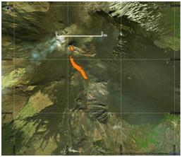 Figura 5 Mappa del flusso di lava ottenuta elaborando il dato Sentinel-2A del 16 Marzo 2017. In arancione è evidenziata la colata alla data di acquisizione del satellite