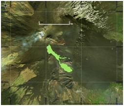 Figura 6 Mappa del flusso di lava ottenuta elaborando il dato Landsat8 del 18 Marzo 2017. In rosso è evidenziata la colata alla data di acquisizione del satellite