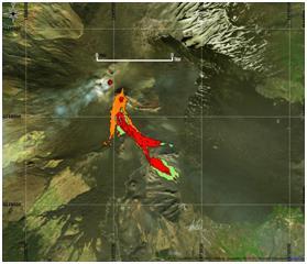 Figura 7 Mappa del flusso di lava ottenuta elaborando il dato Sentinel-2A del 19 Marzo 2017. In verde è evidenziata la colata alla data di acquisizione del satellite