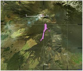 Figura 8 Mappa del flusso di lava ottenuta elaborando il dato Sentinel-2A del 26 Marzo 2017. In viola è evidenziata la colata alla data di acquisizione del satellite