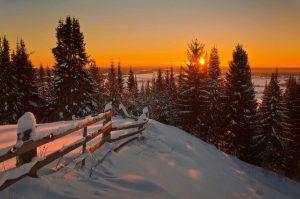 Sunrise-Sunset-Winter-Fence-Nature-Landscape-Snow-HD-Wallpapers-For-Desktop