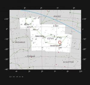 Questo grafico mostra l'ubicazione della debole stella rossa LHS 1140 nell'incospicua costellazione della Balena. Intorno alla stella orbita un esopianeta chiamato LHS 1140b, una super-Terra che potrebbe rivelarsi il miglior luogo in cui cercare segni di vita oltre il Sistema Solare. Crediti: ESO/IAU and Sky & Telescope