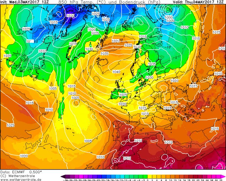 Mappa ECMWF - Le temperature ad 850hPa (circa 1.500 metri di quota) per le ore 14:00 di Giovedì 4 Maggio