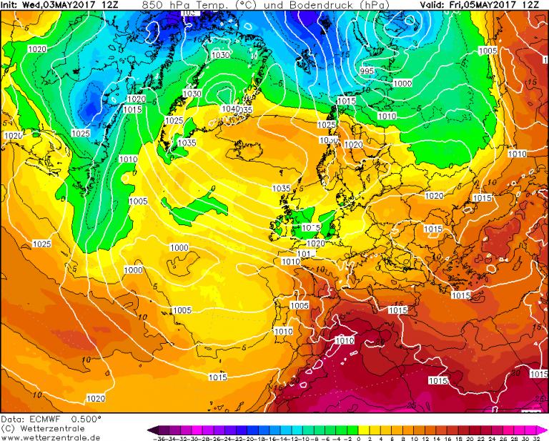 Mappa ECMWF - Le temperature ad 850hPa (circa 1.500 metri di quota) per le ore 14:00 di Venerdì 5 Maggio