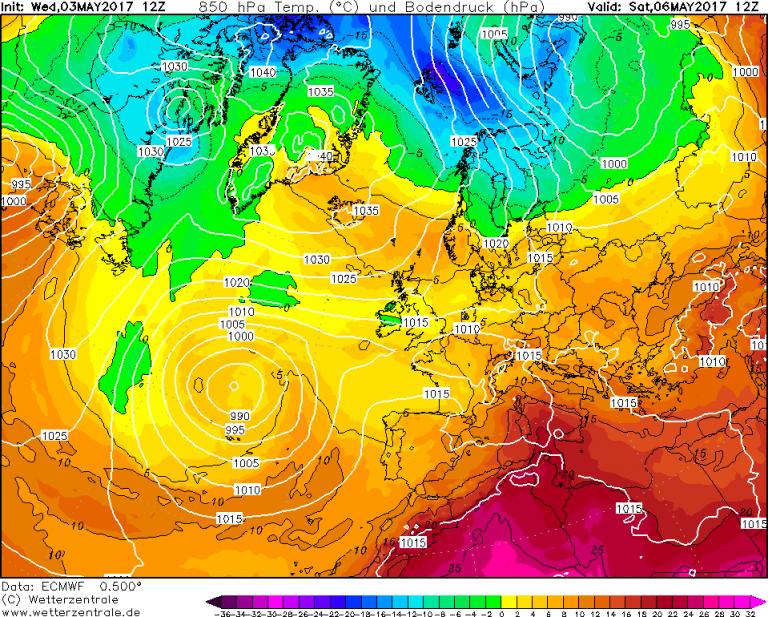 Mappa ECMWF - Le temperature ad 850hPa (circa 1.500 metri di quota) per le ore 14:00 di Sabato 6 Maggio
