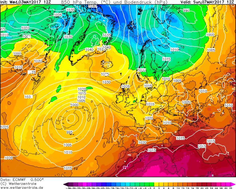 Mappa ECMWF - Le temperature ad 850hPa (circa 1.500 metri di quota) per le ore 14:00 di Domenica 7 Maggio