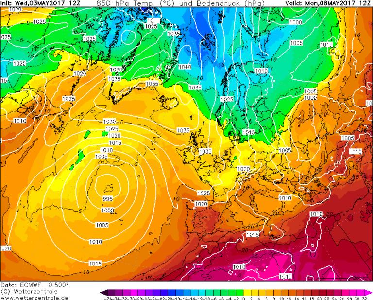 Mappa ECMWF - Le temperature ad 850hPa (circa 1.500 metri di quota) per le ore 14:00 di Lunedì 8 Maggio