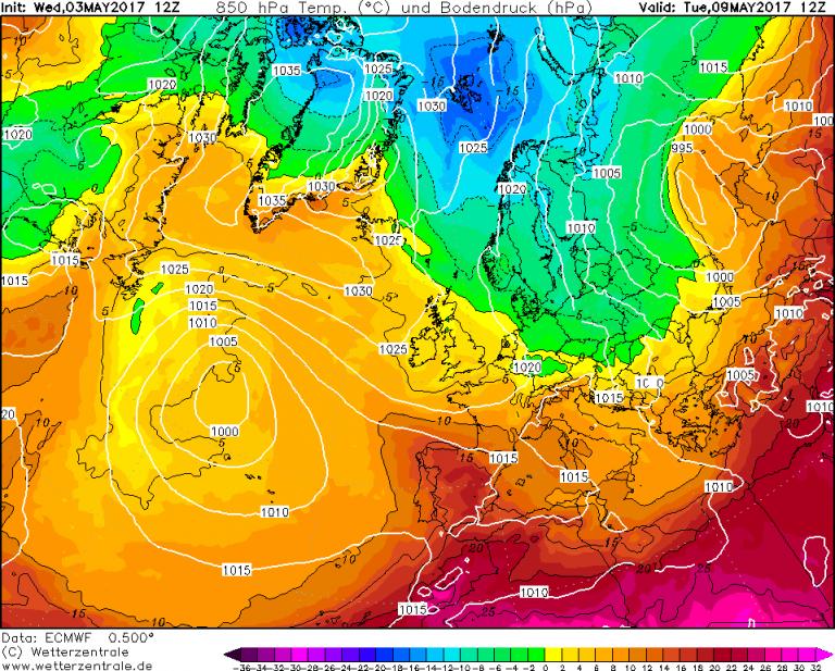 Mappa ECMWF - Le temperature ad 850hPa (circa 1.500 metri di quota) per le ore 14:00 di Martedì 9 Maggio