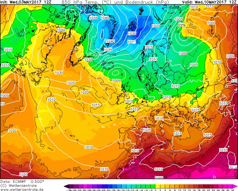 Mappa ECMWF - Le temperature ad 850hPa (circa 1.500 metri di quota) per le ore 14:00 di Mercoledì 10 Maggio