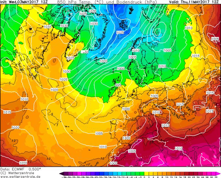 Mappa ECMWF - Le temperature ad 850hPa (circa 1.500 metri di quota) per le ore 14:00 di Giovedì 11 Maggio