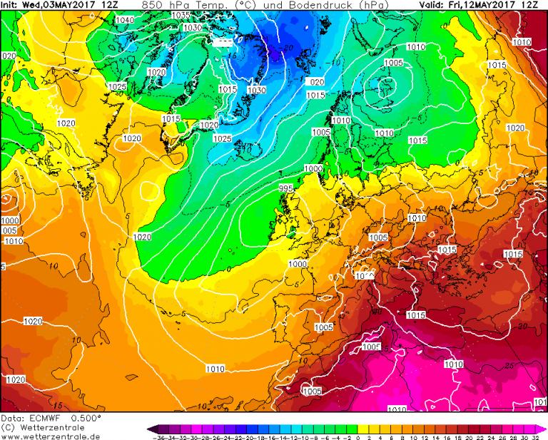 Mappa ECMWF - Le temperature ad 850hPa (circa 1.500 metri di quota) per le ore 14:00 di Venerdì 12 Maggio