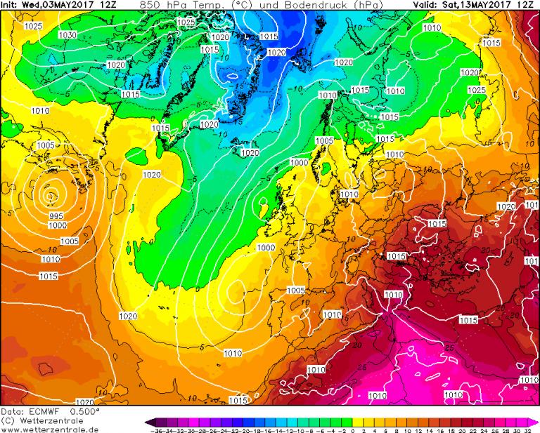 Mappa ECMWF - Le temperature ad 850hPa (circa 1.500 metri di quota) per le ore 14:00 di Sabato 13 Maggio
