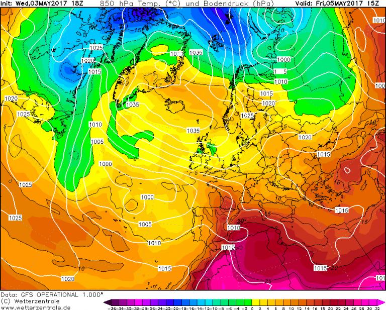 Mappa GFS - Le temperature ad 850hPa (circa 1.500 metri di quota) per le ore 17:00 di Venerdì 5 Maggio