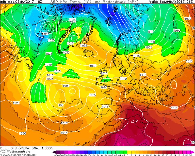 Mappa GFS - Le temperature ad 850hPa (circa 1.500 metri di quota) per le ore 08:00 di Sabato 6 Maggio