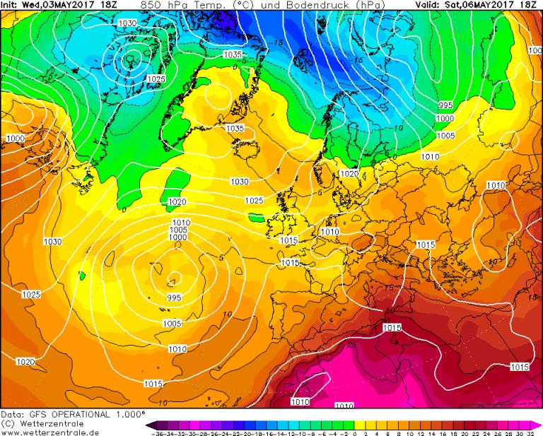 Mappa GFS - Le temperature ad 850hPa (circa 1.500 metri di quota) per le ore 20:00 di Sabato 6 Maggio