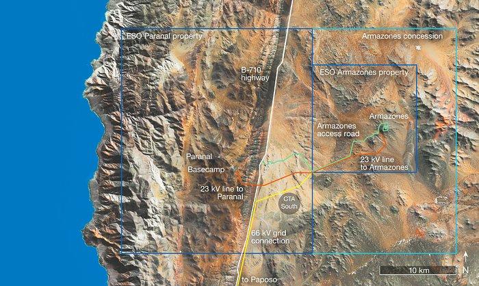 La mappa della regione settentrionale del Cile, che comprende i siti dell'ESO di Paranal e Cerro Armazones, mostra il tracciato dei nuovi collegamenti elettrici con la rete di distribuzione cilena.Crediti: ESO