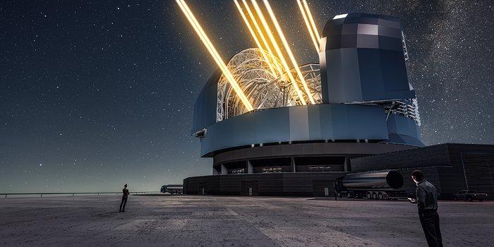 Questa rappresentazione artistica mostra una visione notturna del telescopio ELT (Extremely Large Telescope) sul Cerro Armazones, nel Cile settentrionale. Il telescopio è visto nel momento in cui utilizza gli appositi laser per 'accendere' delle stelle artificiali negli strati alti dell'atmosfera. Il 26 maggio 2017 si è svolta la cerimonia della posa della prima pietra del telescopio, a cui ha partecipato la Presidentessa del Cile, Michelle Bachelet Jeria.Crediti: ESO/L. Calçada