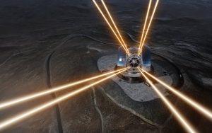 Questa rappresentazione artistica mostra una visione notturna del telescopio ELT (Extremely Large Telescope) sul Cerro Armazones, nel Cile settentrionale. Il telescopio è visto nel momento in cui utilizza gli appositi laser per 'accendere' delle stelle artificiali negli strati alti dell'atmosfera. Il 26 maggio 2017 si è svolta la cerimonia della posa della prima pietra del telescopio, a cui ha partecipato la Presidentessa del Cile, Michelle Bachelet Jeria. Crediti: ESO/L. Calçada