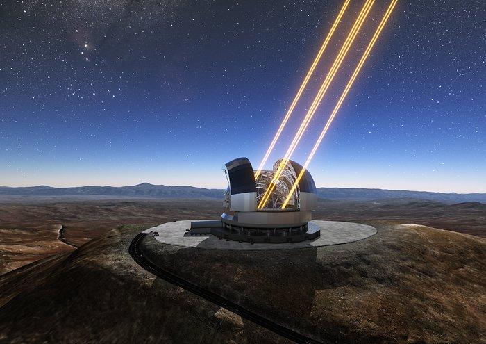 Questa rappresentazione artistica mostra in azione il telescopio ELT (Extremely Large Telescope) sul Cerro Armazones, nel Cile settentrionale. Il telescopio è visto nel momento in cui utilizza gli appositi laser per 'accendere' delle stelle artificiali negli strati alti dell'atmosfera. Il 26 maggio 2017 si è svolta la cerimonia della posa della prima pietra del telescopio, a cui ha partecipato la Presidentessa del Cile, Michelle Bachelet Jeria.Crediti: ESO/L. Calçada