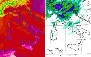 La previsione del modello Moloch dell'ISAC-CNR per domani, Mercoledì 28 Giugno 2017: a sinistra le temperature, a destra le precipitazioni