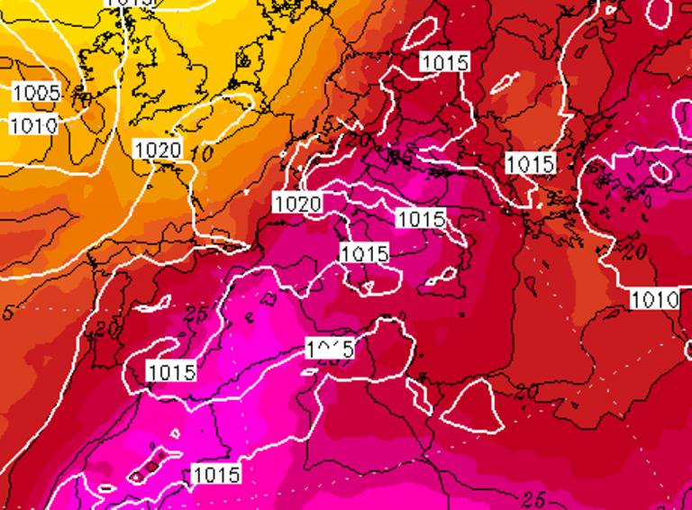 Giovedì 3 Agosto - Mappa ECMWF