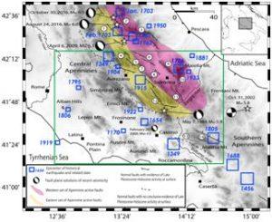 In blu la sismicità storica