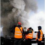 Personale INGV al lavoro durante l'eruzione esplosiva del vulcano Eyjafjallajokull, Islanda, anno 2010