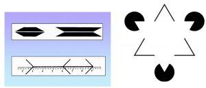 A sinistra: variazione di percezione della lunghezza di un segmento in base alla variazione del contesto. A destra: il triangolo bianco viene percepito anche se in realtà non è disegnato.