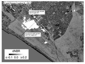 Figura 2 -  Indice di differenza di NBR calcolato utilizzando due immagini Landsat 8 -OLI una antecedente (6 luglio 2017) ed una (22 luglio 2017) successiva all'incendio del 17 e del 21 luglio. Il nero-grigio indica non cambiamento; tonalità grigio chiarissimo verso il bianco indicano il cambiamento. L'immagine evidenzia l'area interessata dai due incendi. Il perimetro è stato rilevato mediante fotointerpretazione. (Contains modified Copernicus Sentinel data [2017]; Landsat 8-OLI courtesy of the U.S. Geological Survey, Software used HARRIS-ENVI, data processing Stefania Amici-INGV)