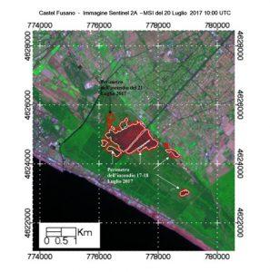 Figura 3 - Immagine Sentinel 2A - MSI in falsi colori nelle bande SWIR, NIR, e Red edge con risoluzione 20m/px acquisita da Sentinel 2A–MSI tre giorni dopo l'incendio iniziato il 17 luglio. La linea bianca indica il perimetro derivato dal Sentinel 2A-dNBR mentre la linea rossa quello derivato utilizzando Landsat 8–dNBR ad una risoluzione di 30m. Quest'ultimo evidenzia anche l'area percorsa dall'incendio del 21 luglio 2017.  [credits Contains modified Copernicus Sentinel data [2017]; Landsat 8-OLI courtesy of the U.S. Geological Survey, HARRIS-ENVI, data processing Stefania Amici-INGV]