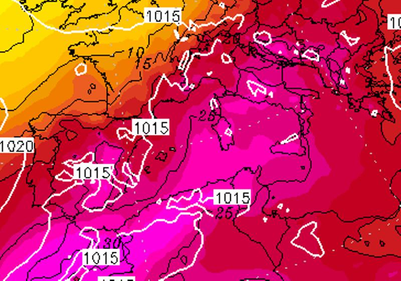 Le temperature ad 850hPa previste per le ore 14:00 di Venerdì 4 Agosto