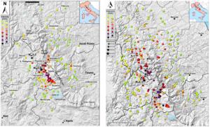 Distribuzione dei valori di intensità EMS dopo il terremoto del 24 agosto 2016 (Mw 6.0 e Mw 5.3) – a sinistra – e dopo gli eventi del 26 (Mw 5.4 e 5.9) e del 30 ottobre 2016 (Mw 6.5) – a destra. Si nota il forte aggravamento a seguito delle scosse di fine ottobre e l'estensione del danneggiamento soprattutto in direzione nord.