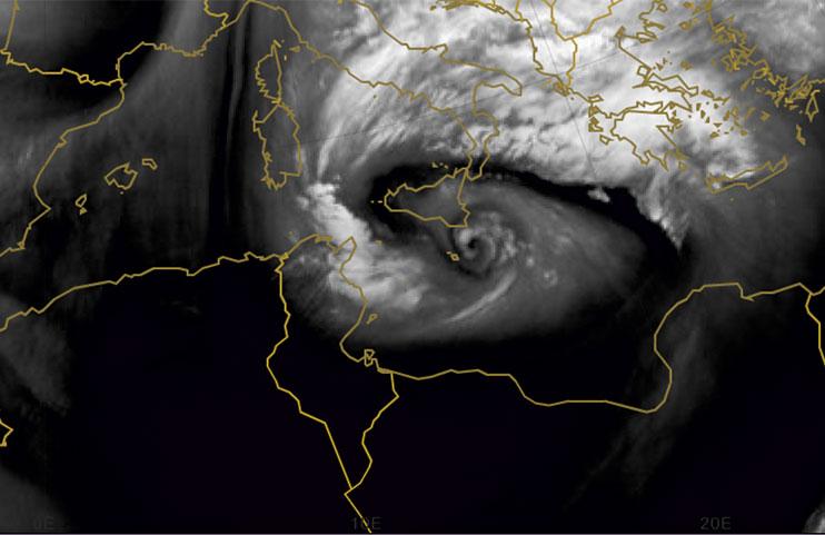 Un'immagine dell'Uragano Mediterraneo