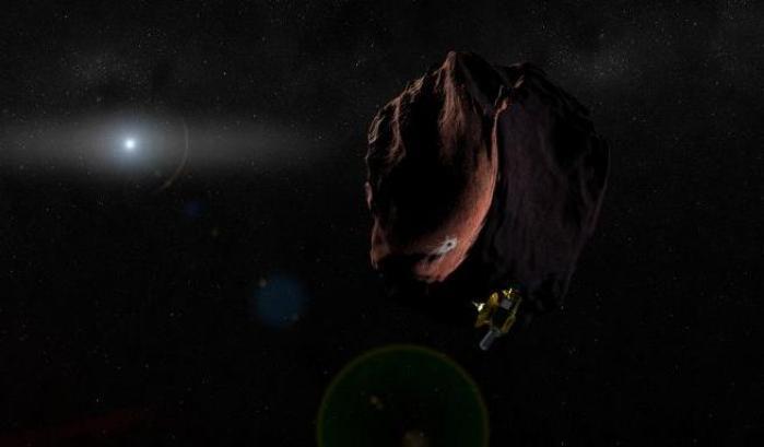 Rappresentazione artistica dell'incontro tra New Horizons e Mu69