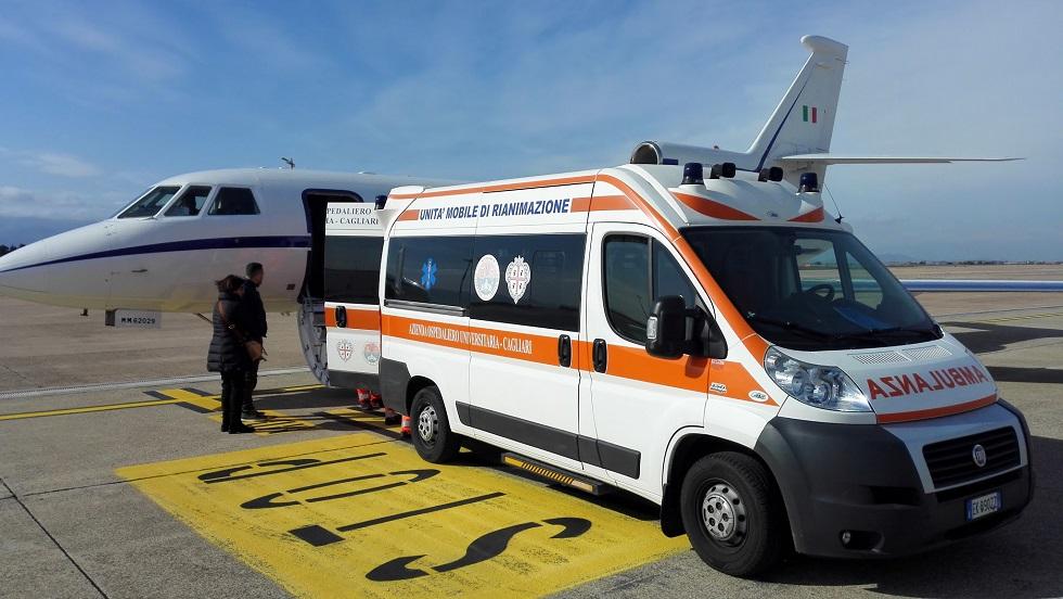 aeronautica trasporto urgenza IPV, arrivo a Cagliari