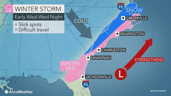 Allerta Meteo USA |  neve e ghiaccio minacciano tutta la costa Atlantica fino alla Florida