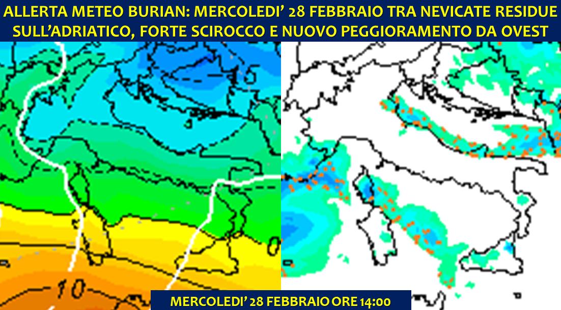 Allerta Meteo Burian Mercoledì 28 Febbraio