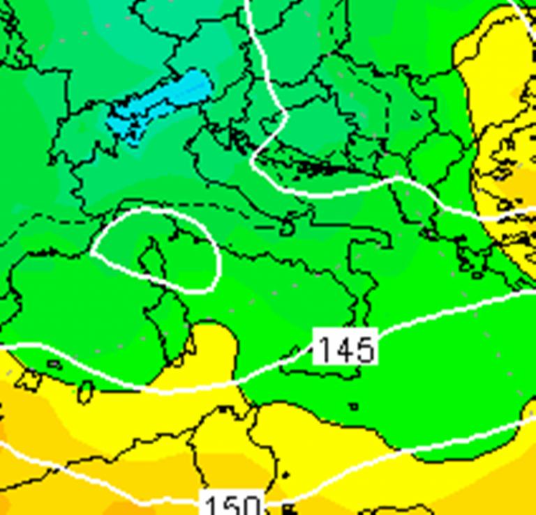 Le temperature previste ad 850hPa per le ore 07:00 di domani, Mercoledì 14 Febbraio