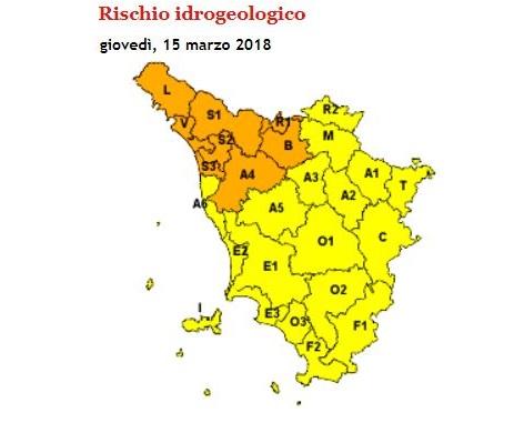 allerta meteo Toscana 15 marzo 2018