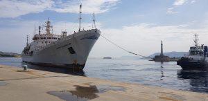 """Giunta stamane nel porto di Messina la nave di ricerca oceanografica della Marina russa """"Admiral Vladimirskiy"""""""