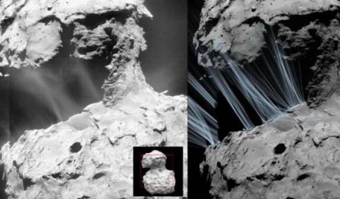 I getti di polveri e gas sulla superficie di 67P