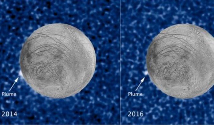 I pennacchi di Europa ripresi da Hubble