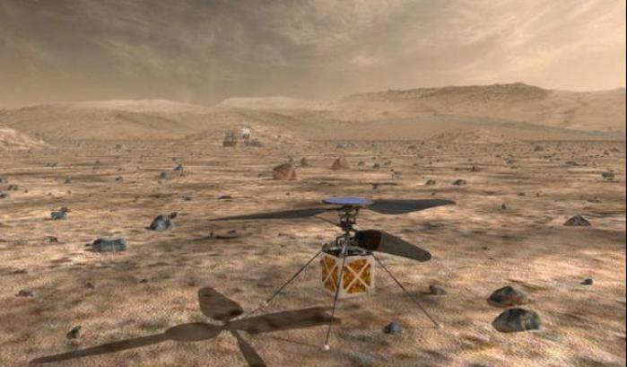 Mars Elicopter sul terreno marziano