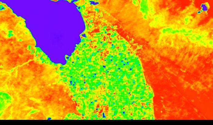 Una simulazione dei dati di ECOSTRESS