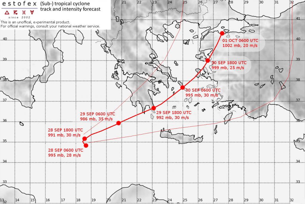 traiettoria uragano Zorbas