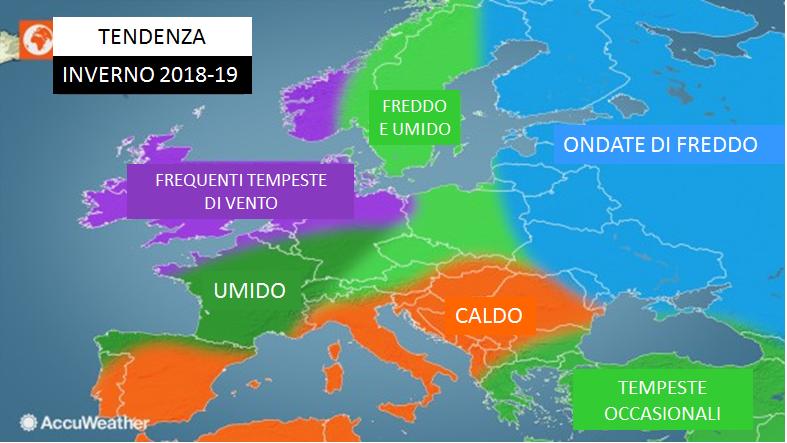 previsioni meteo inverno europa 2018-2019