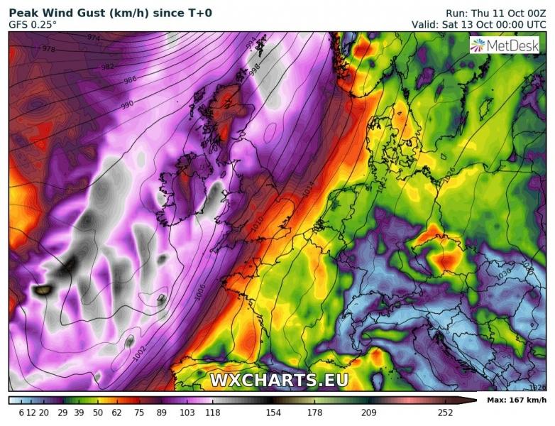 tempesta di vento callum irlanda regno unito 13 ottobre venti massimi