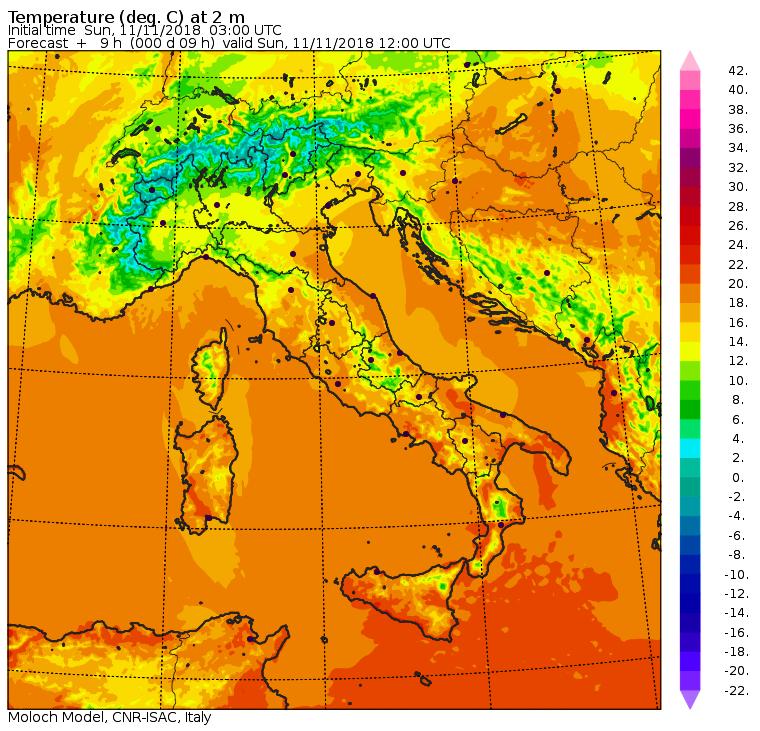 Domenica 11 Novembre - Le temperature massime previste alle ore 13