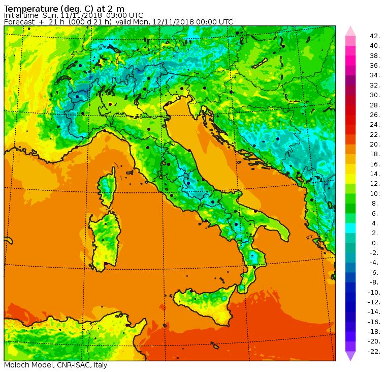 Le temperature nella notte tra Domenica 11 e Lunedì 12 Novembre